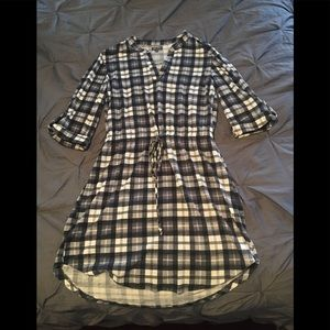 Plaid Drawstring Dress